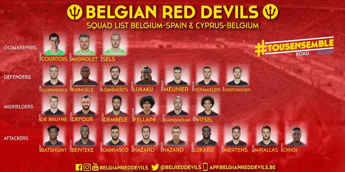 Belgium Squad v Spain and Cyprus 2016